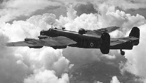 Handley Page Halifax flying over clouds